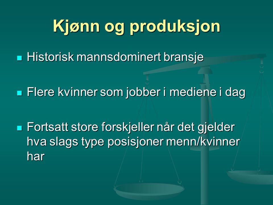 Kjønn og produksjon Historisk mannsdominert bransje