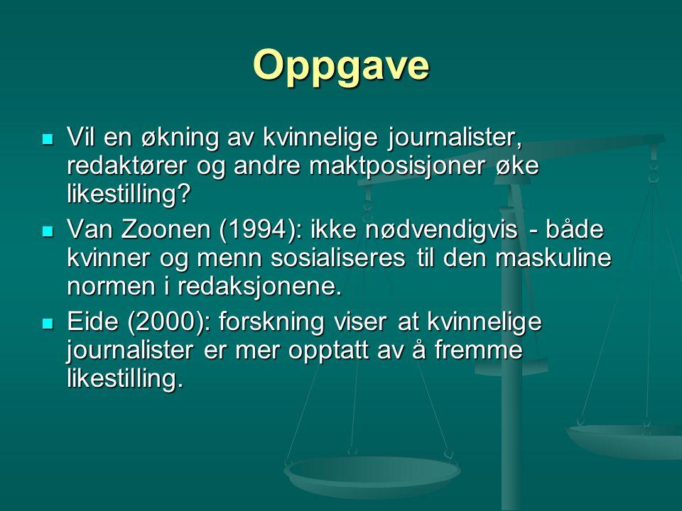Oppgave Vil en økning av kvinnelige journalister, redaktører og andre maktposisjoner øke likestilling