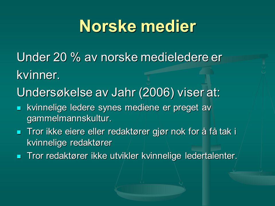 Norske medier Under 20 % av norske medieledere er kvinner.