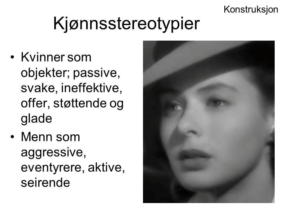 Konstruksjon Kjønnsstereotypier. Kvinner som objekter; passive, svake, ineffektive, offer, støttende og glade.