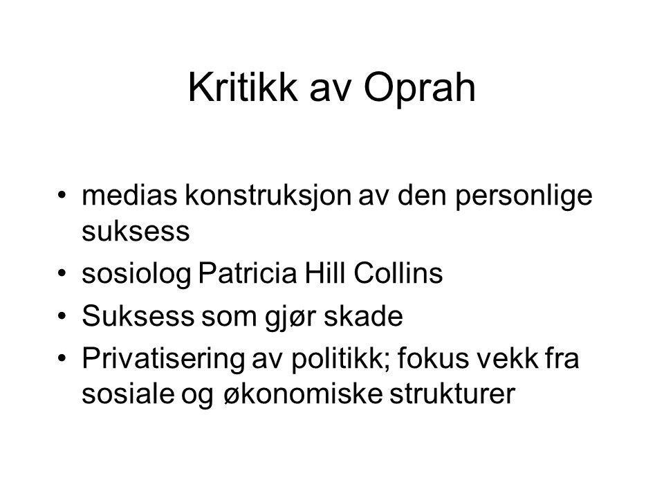 Kritikk av Oprah medias konstruksjon av den personlige suksess