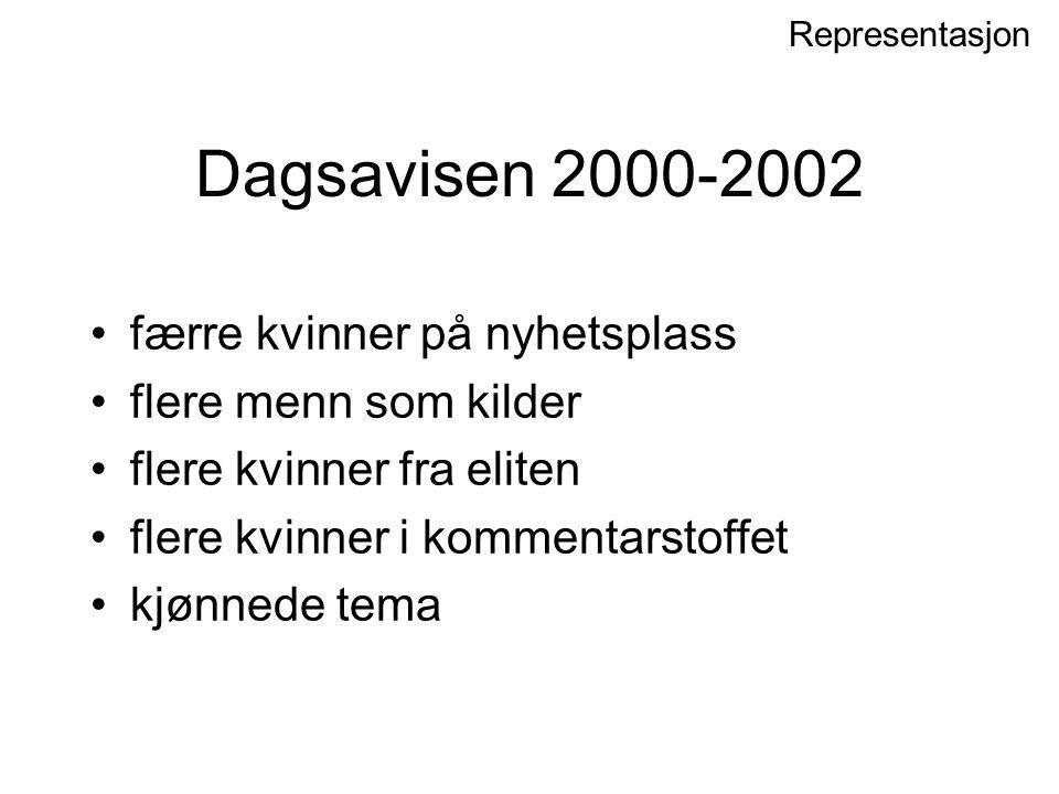 Dagsavisen 2000-2002 færre kvinner på nyhetsplass