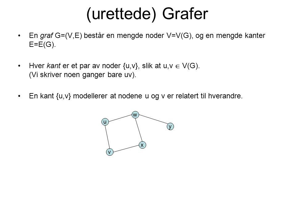 (urettede) Grafer En graf G=(V,E) består en mengde noder V=V(G), og en mengde kanter E=E(G).