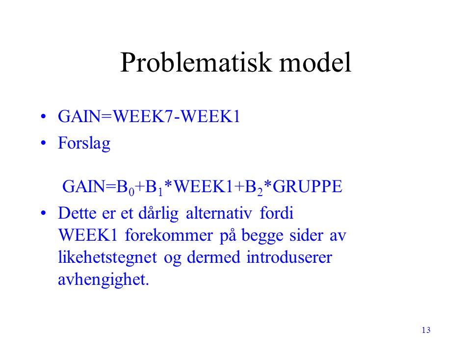Problematisk model GAIN=WEEK7-WEEK1 Forslag GAIN=B0+B1*WEEK1+B2*GRUPPE