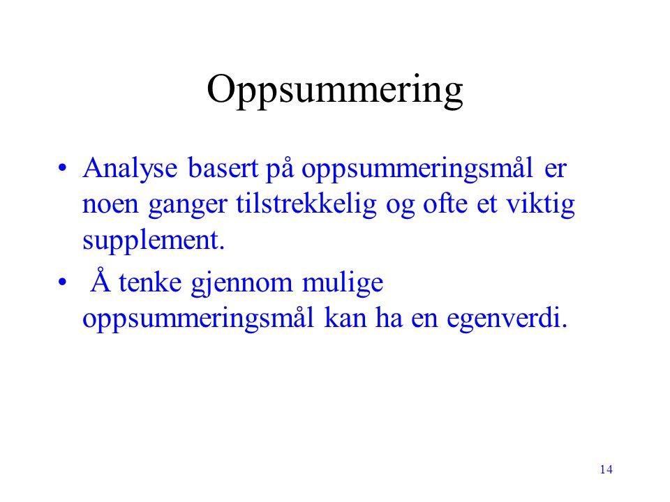 Oppsummering Analyse basert på oppsummeringsmål er noen ganger tilstrekkelig og ofte et viktig supplement.