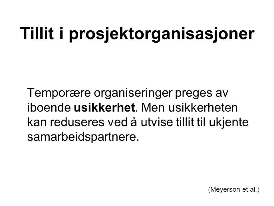 Tillit i prosjektorganisasjoner