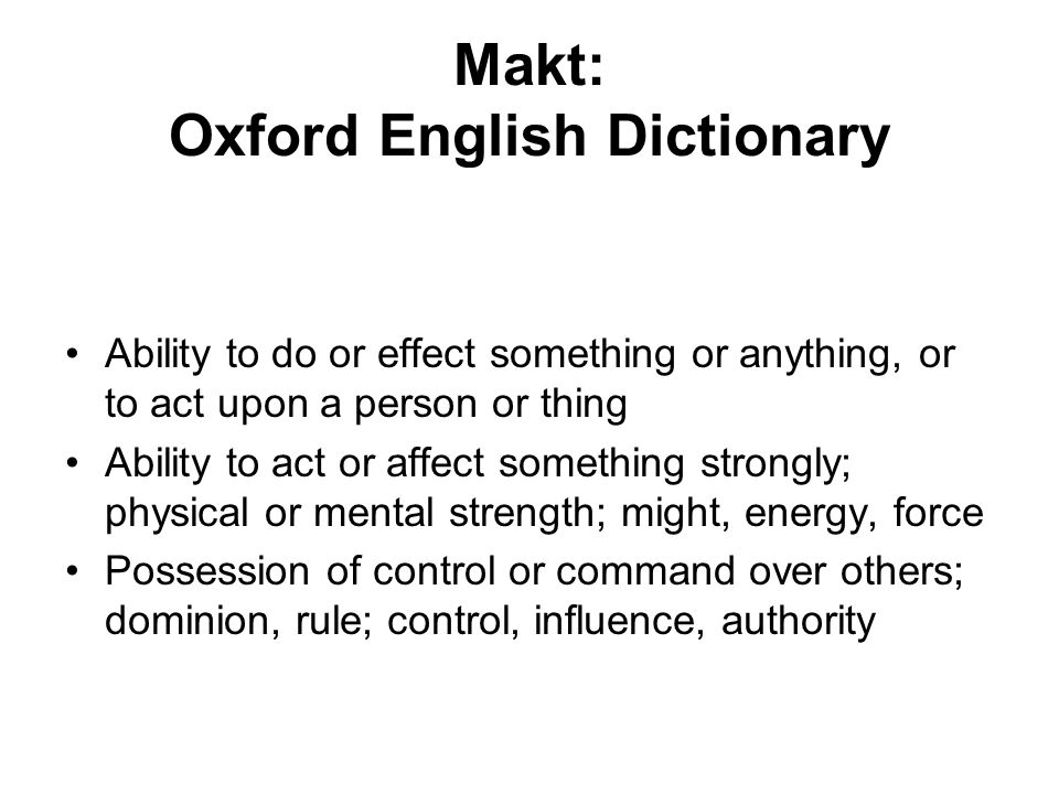 Makt: Oxford English Dictionary