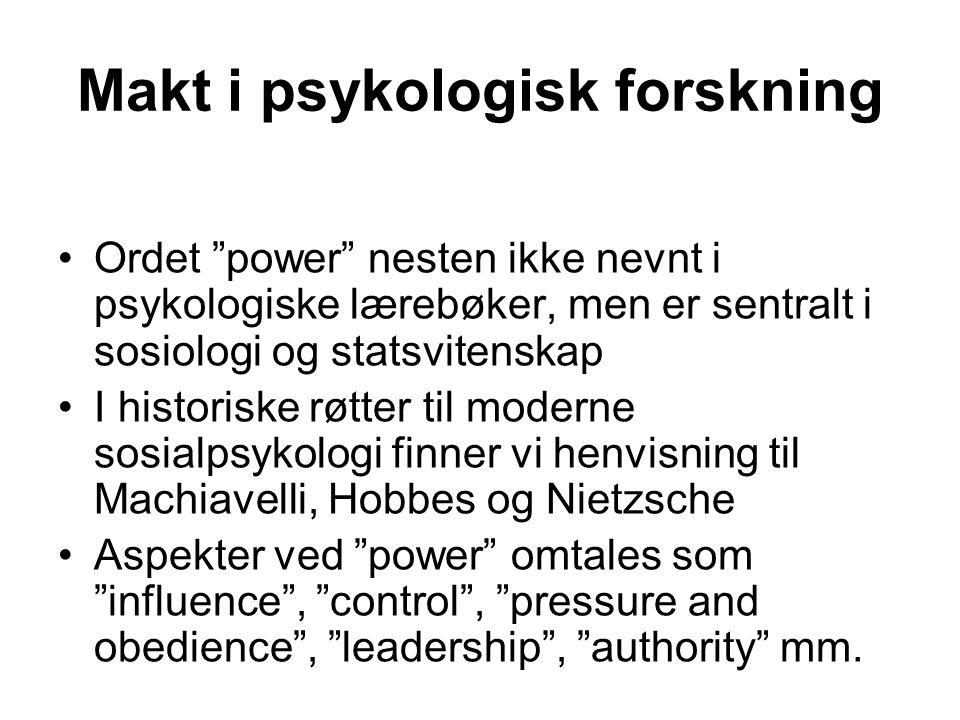 Makt i psykologisk forskning