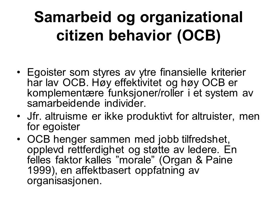 Samarbeid og organizational citizen behavior (OCB)