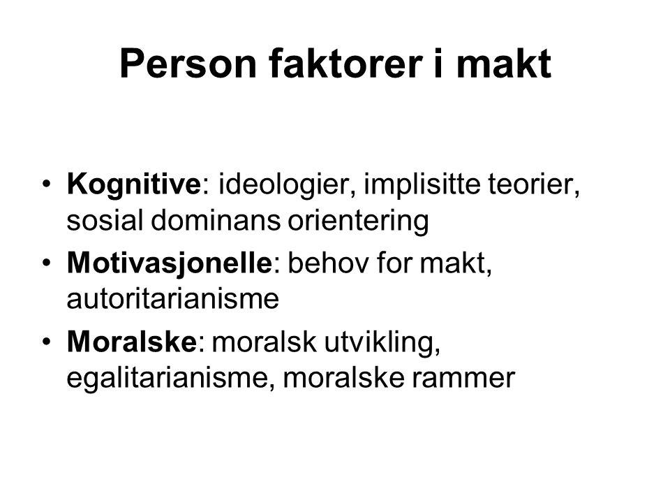 Person faktorer i makt Kognitive: ideologier, implisitte teorier, sosial dominans orientering. Motivasjonelle: behov for makt, autoritarianisme.