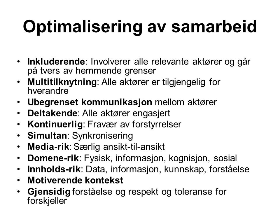 Optimalisering av samarbeid