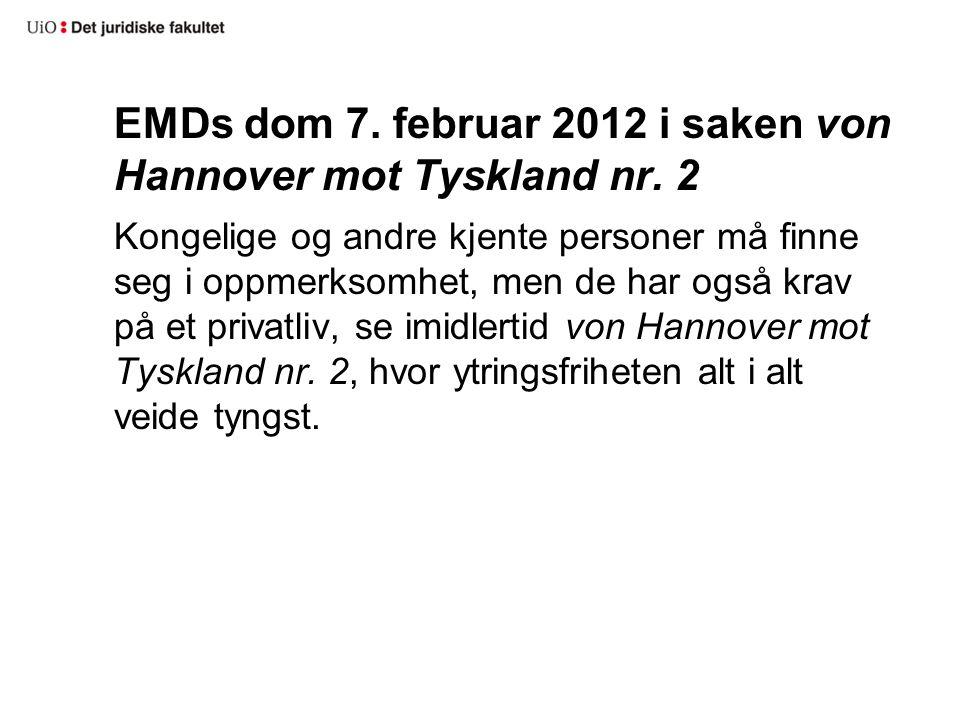 EMDs dom 7. februar 2012 i saken von Hannover mot Tyskland nr. 2