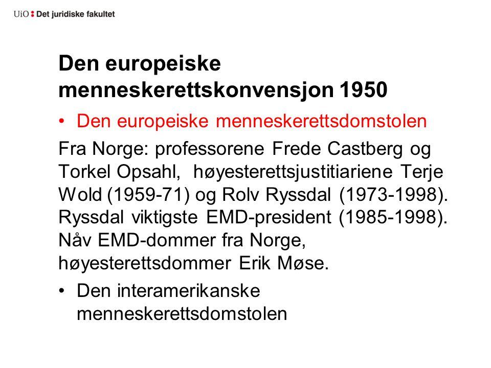Den europeiske menneskerettskonvensjon 1950