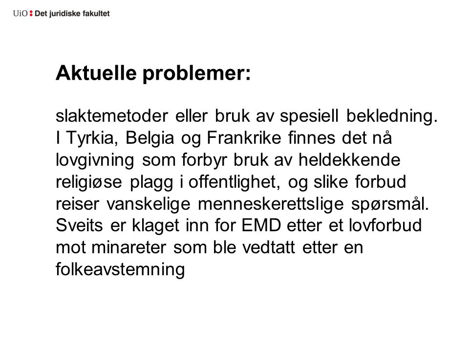 Aktuelle problemer: