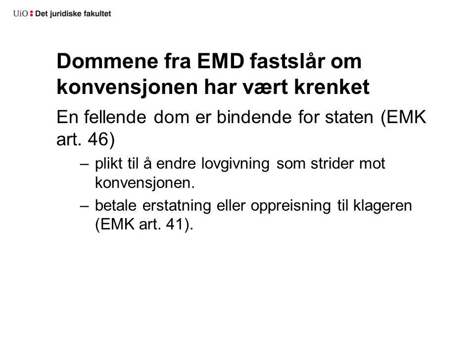 Dommene fra EMD fastslår om konvensjonen har vært krenket