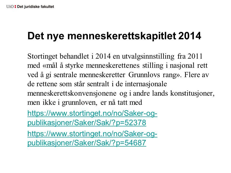Det nye menneskerettskapitlet 2014