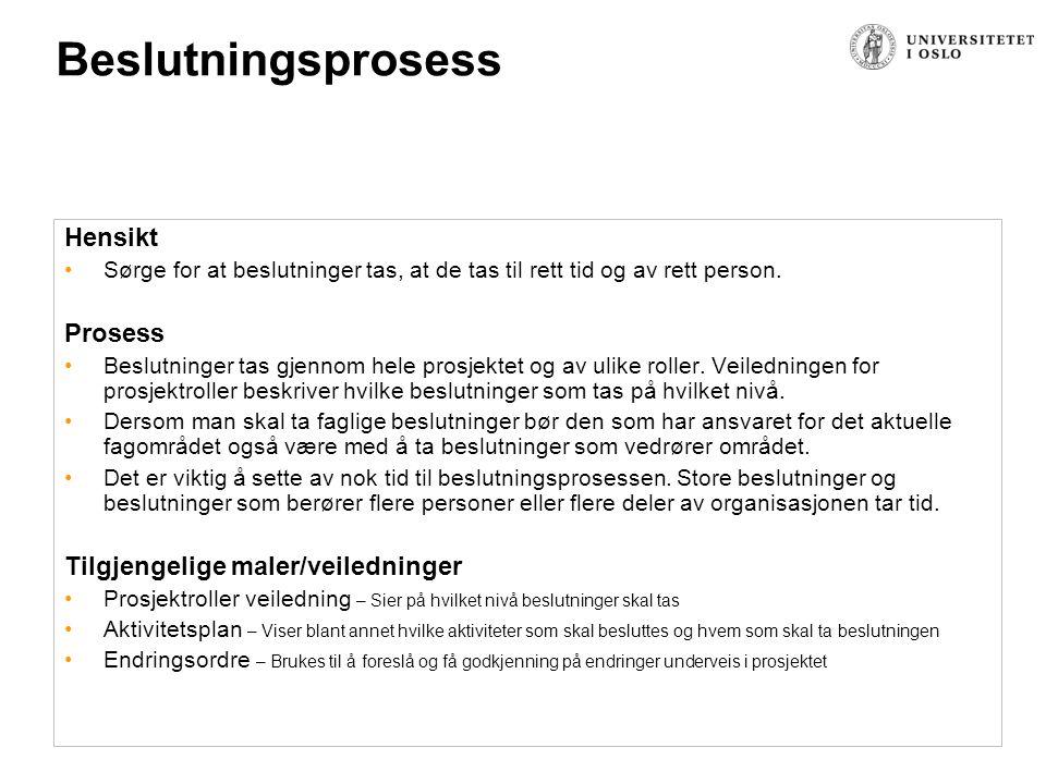 Beslutningsprosess Hensikt Prosess Tilgjengelige maler/veiledninger