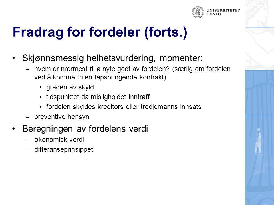 Fradrag for fordeler (forts.)