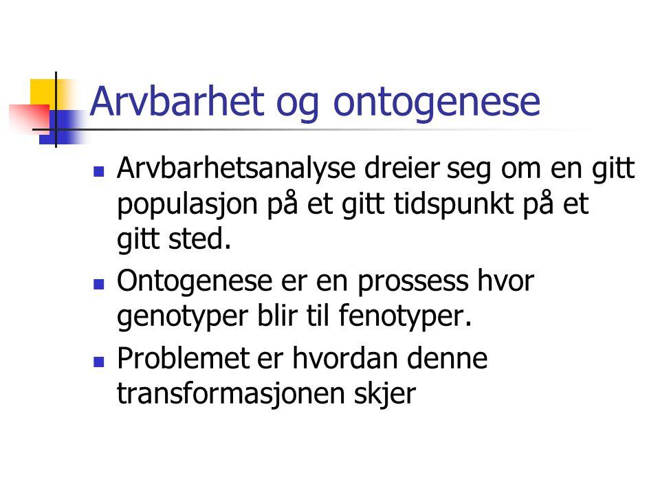 Arvbarhet og ontogenese
