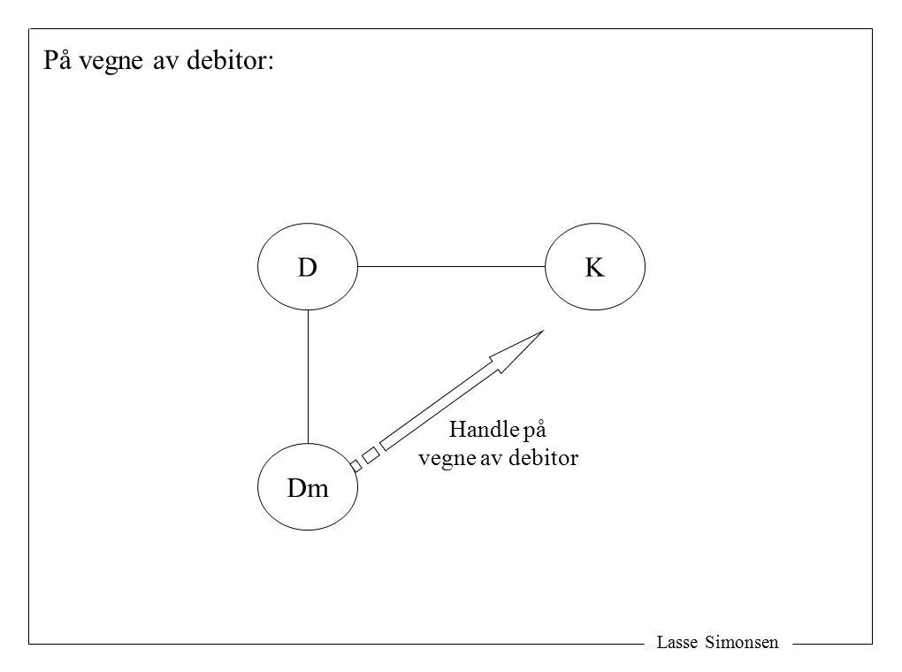 På vegne av debitor: D K Handle på vegne av debitor Dm Lasse Simonsen
