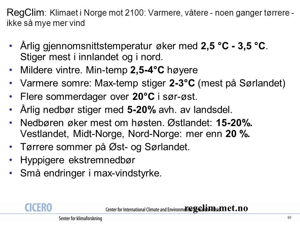 RegClim: Klimaet i Norge mot 2100: Varmere, våtere - noen ganger tørrere - ikke så mye mer vind