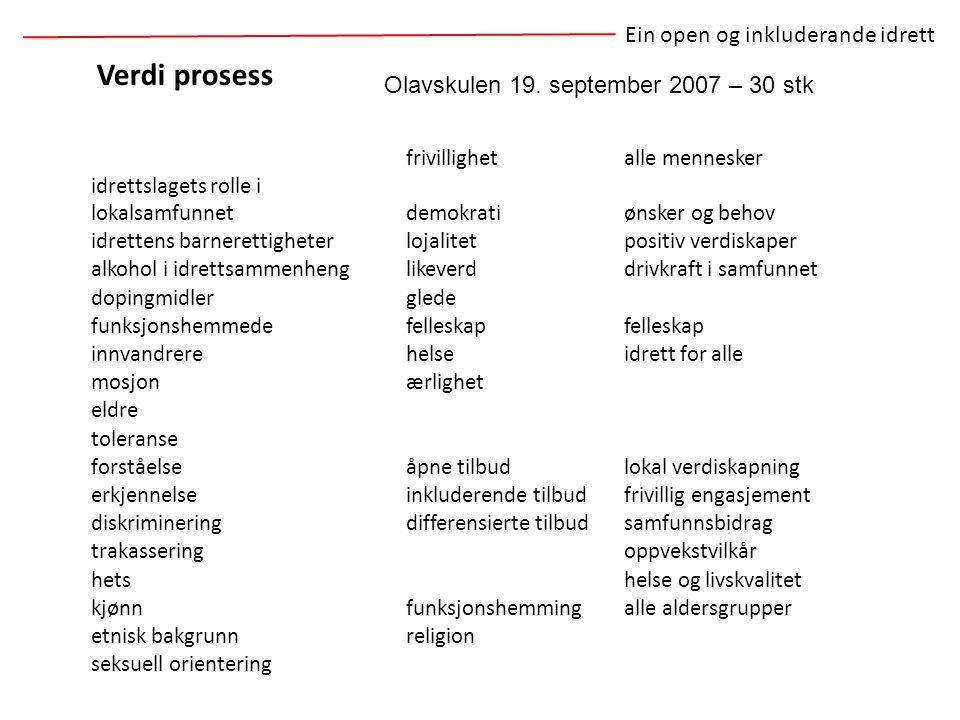Verdi prosess Ein open og inkluderande idrett