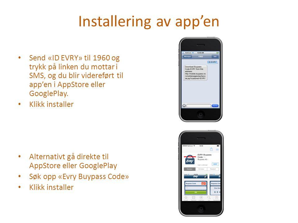 Installering av app'en