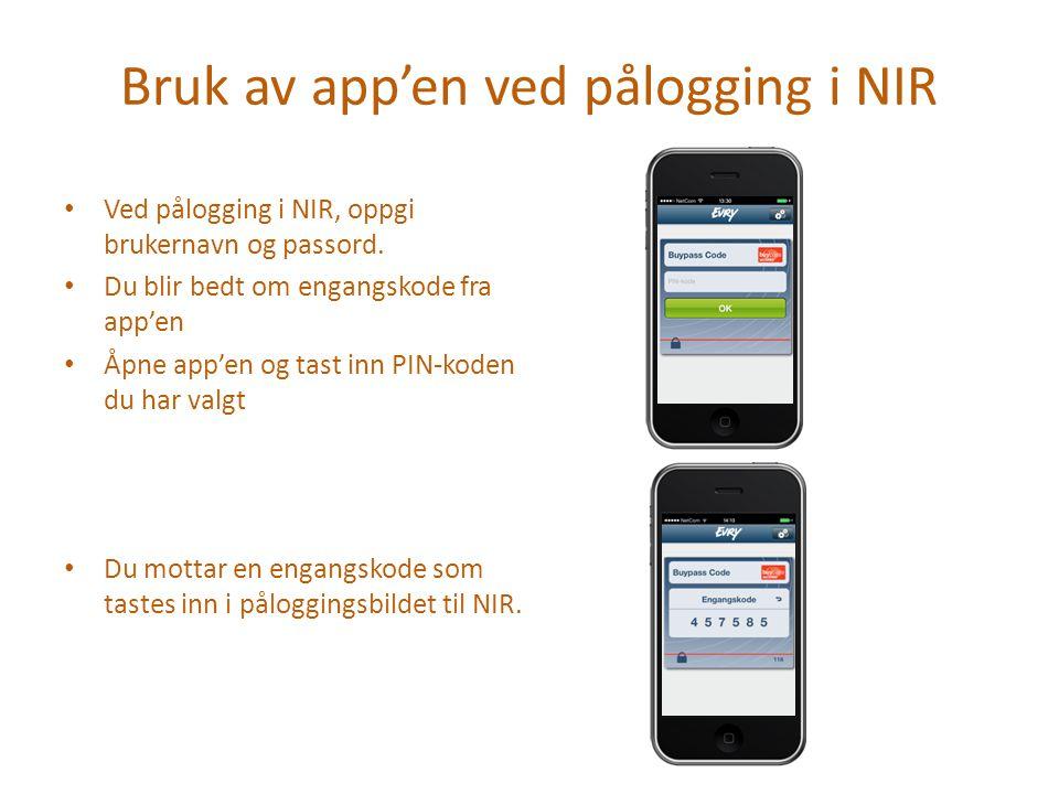 Bruk av app'en ved pålogging i NIR
