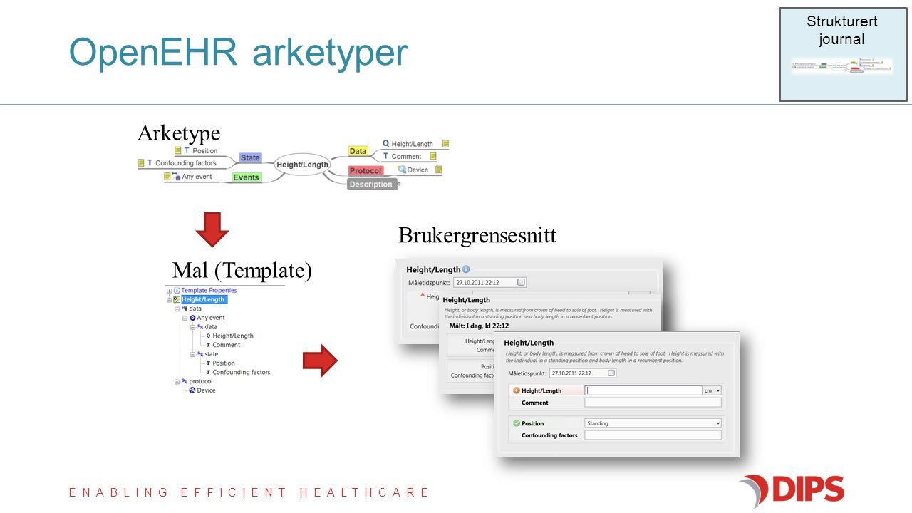 OpenEHR arketyper Arketype Brukergrensesnitt Mal (Template)