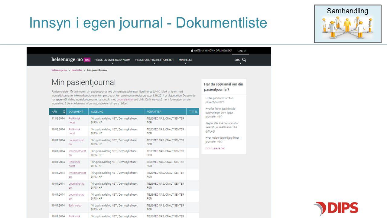 Innsyn i egen journal - Dokumentliste