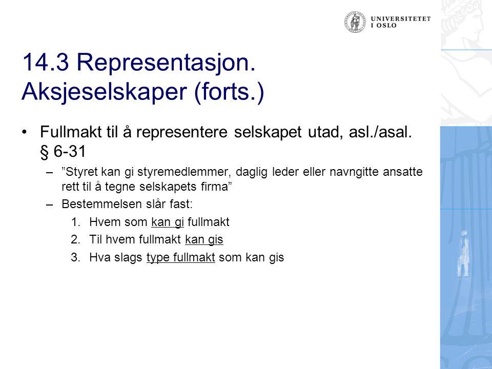14.3 Representasjon. Aksjeselskaper (forts.)
