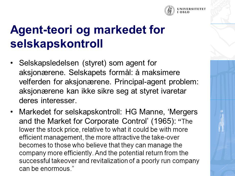 Agent-teori og markedet for selskapskontroll