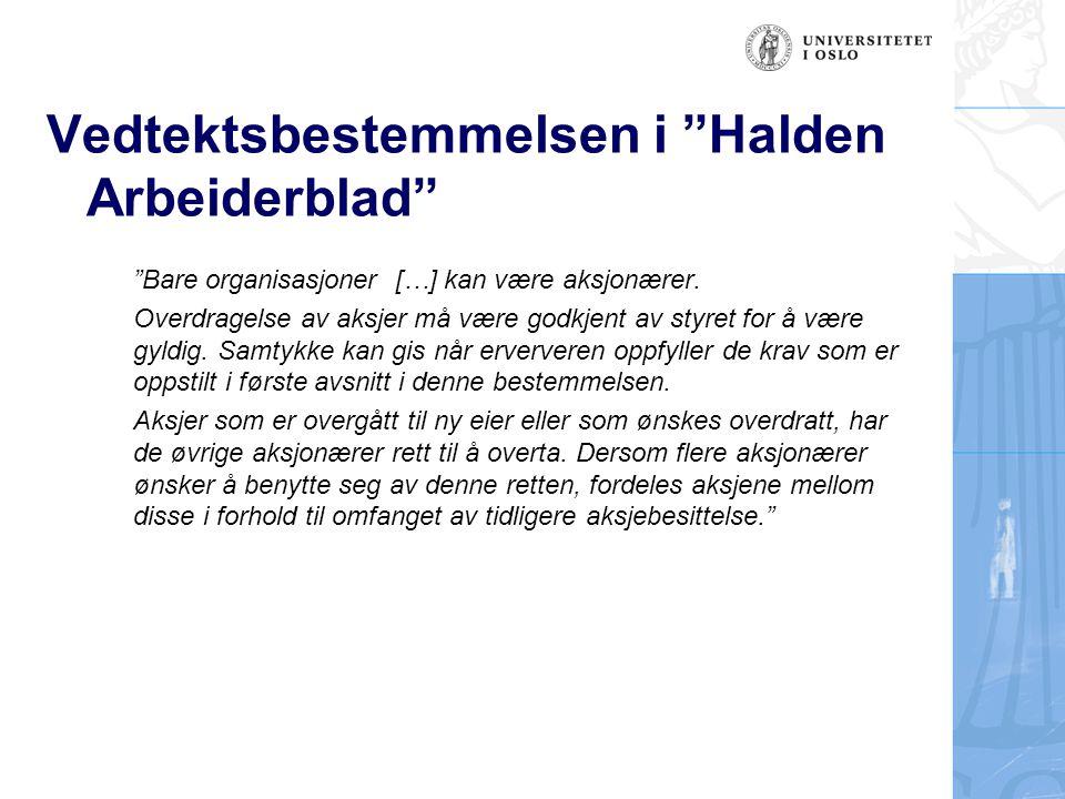 Vedtektsbestemmelsen i Halden Arbeiderblad