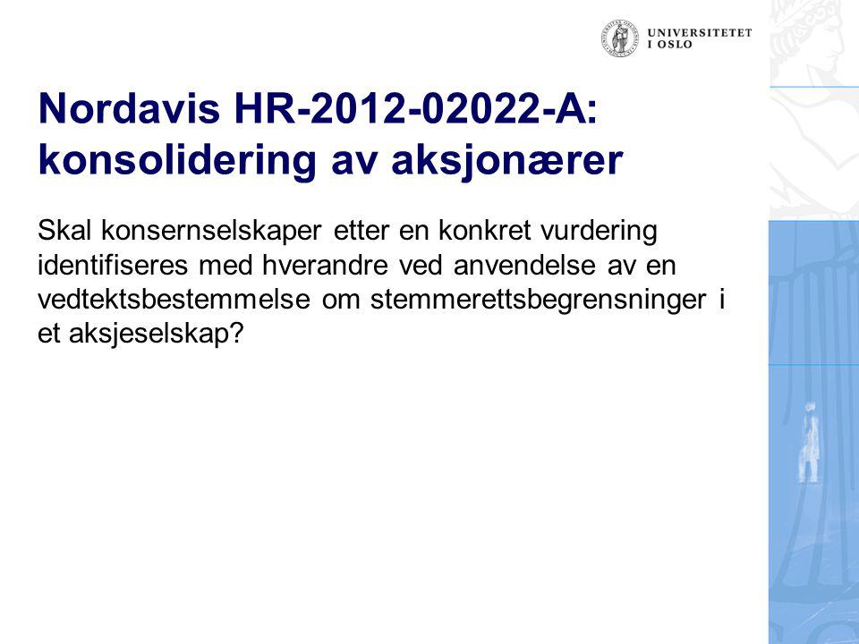 Nordavis HR-2012-02022-A: konsolidering av aksjonærer