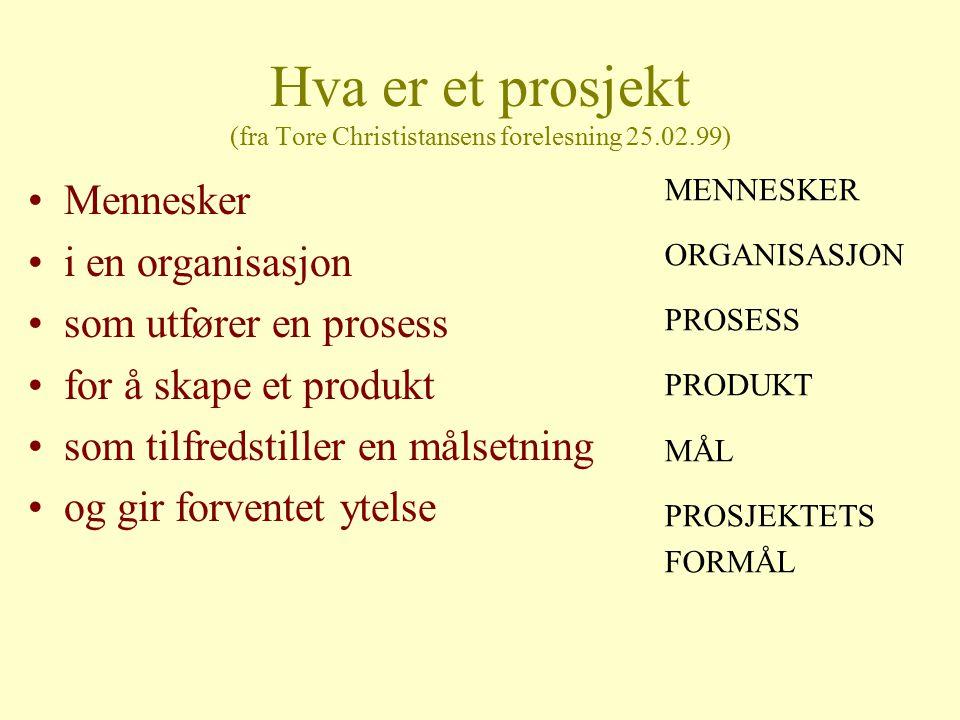 Hva er et prosjekt (fra Tore Christistansens forelesning 25.02.99)