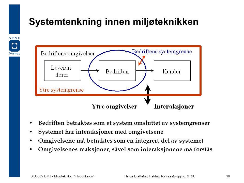 Systemtenkning innen miljøteknikken