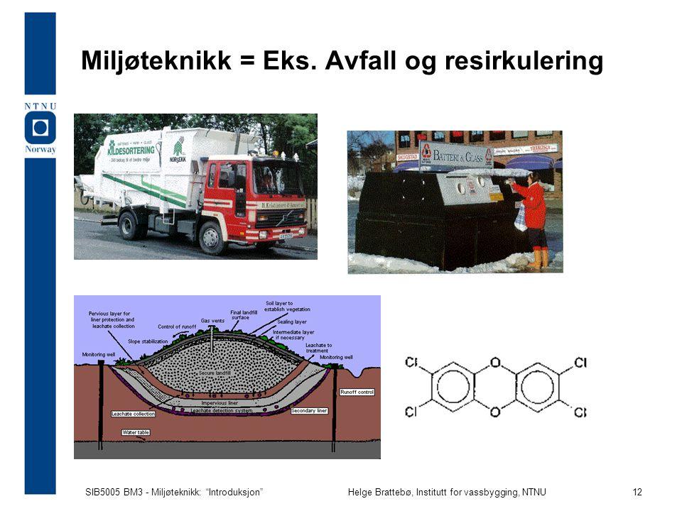 Miljøteknikk = Eks. Avfall og resirkulering