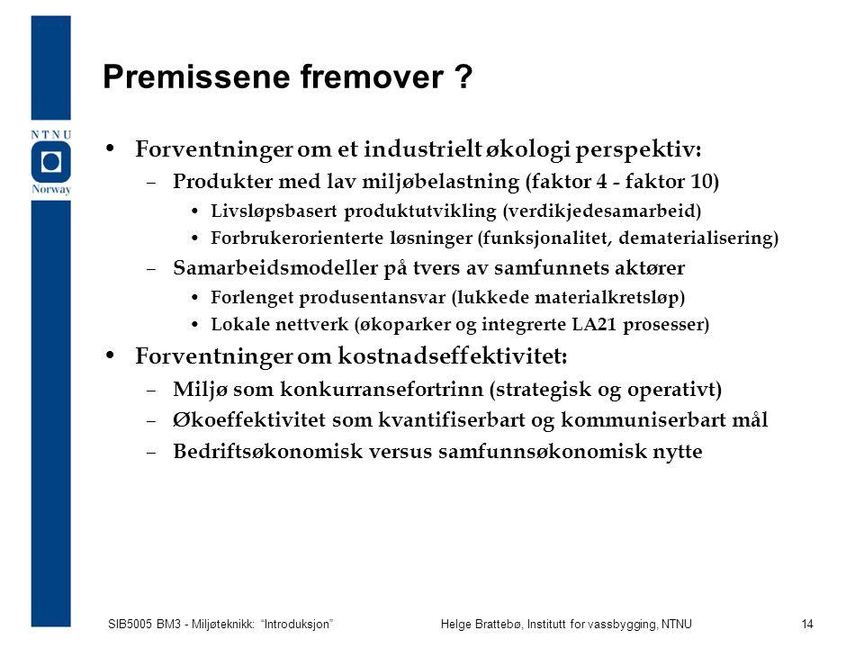 Premissene fremover Forventninger om et industrielt økologi perspektiv: Produkter med lav miljøbelastning (faktor 4 - faktor 10)