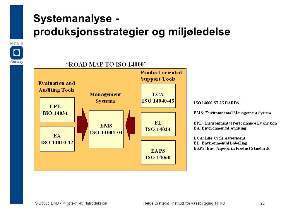 Systemanalyse - produksjonsstrategier og miljøledelse