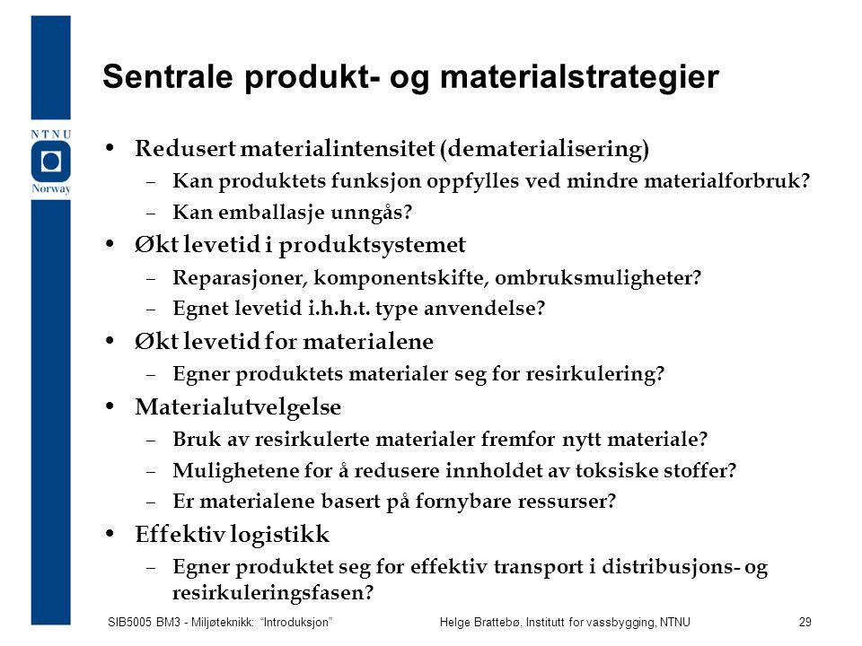 Sentrale produkt- og materialstrategier