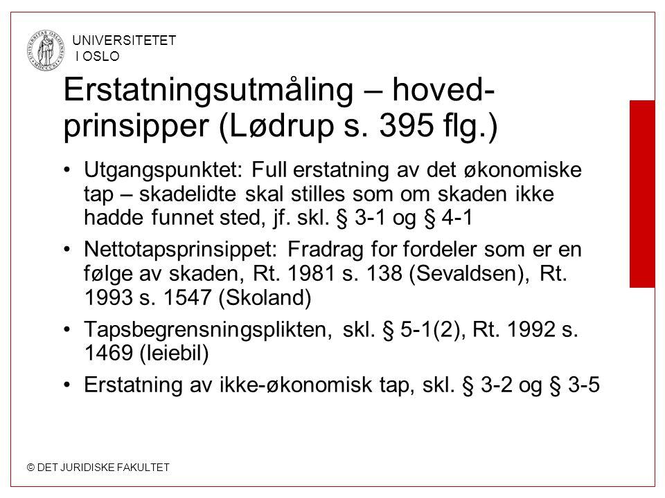 Erstatningsutmåling – hoved-prinsipper (Lødrup s. 395 flg.)
