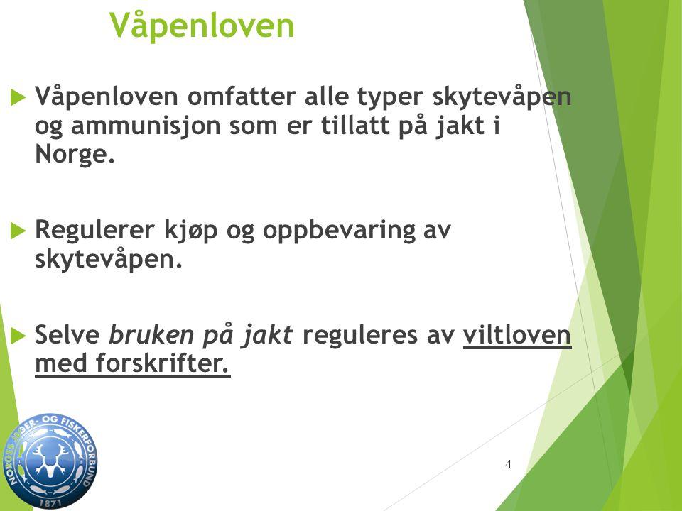 Våpenloven Våpenloven omfatter alle typer skytevåpen og ammunisjon som er tillatt på jakt i Norge.