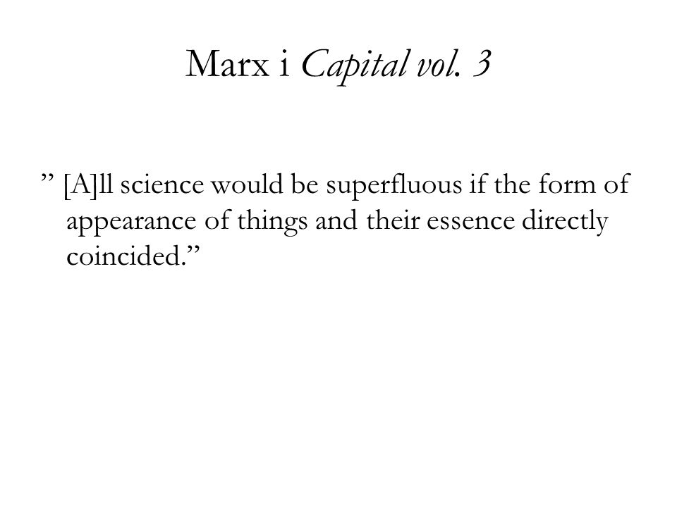 Marx i Capital vol.