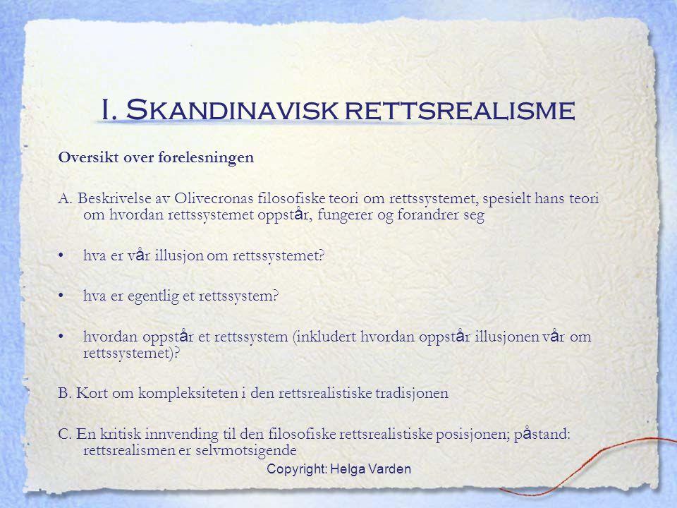 I. Skandinavisk rettsrealisme