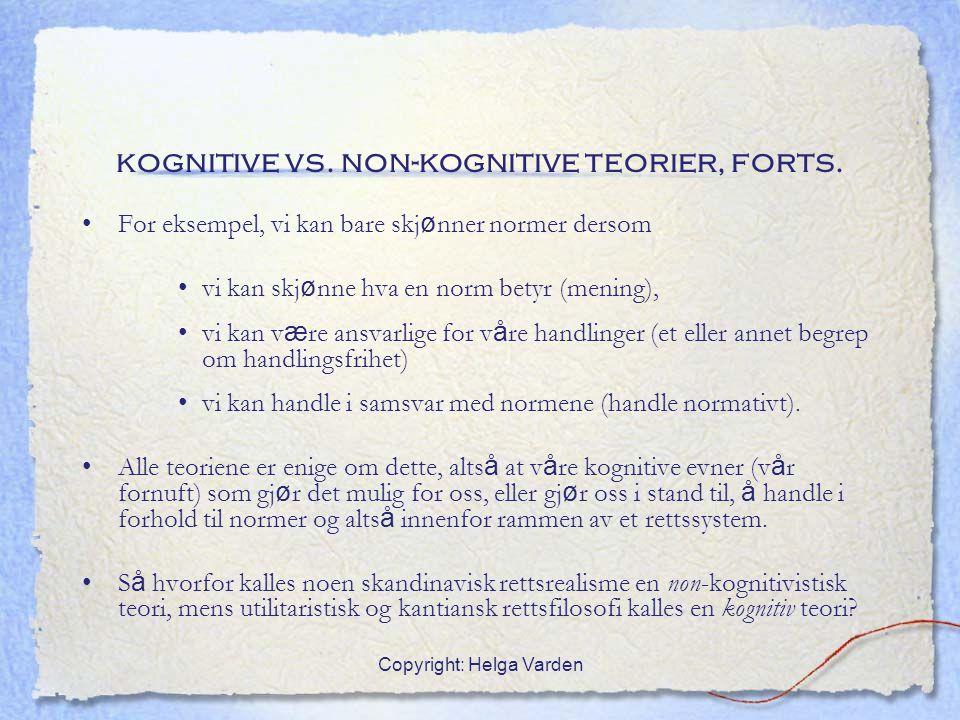 kognitive vs. non-kognitive teorier, forts.