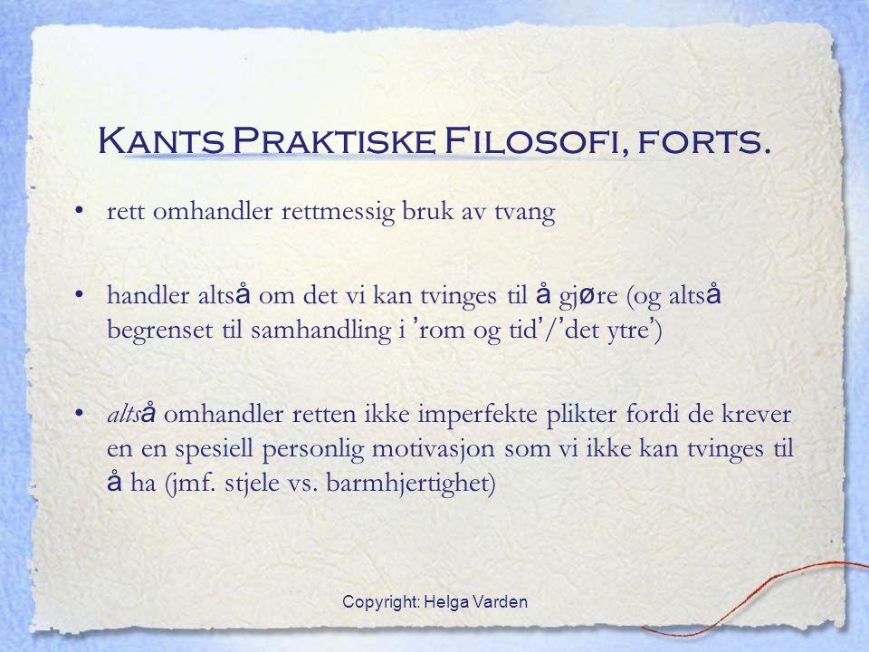 Kants Praktiske Filosofi, forts.