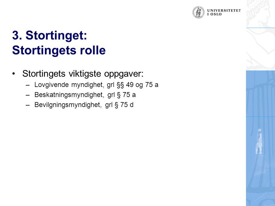 3. Stortinget: Stortingets rolle