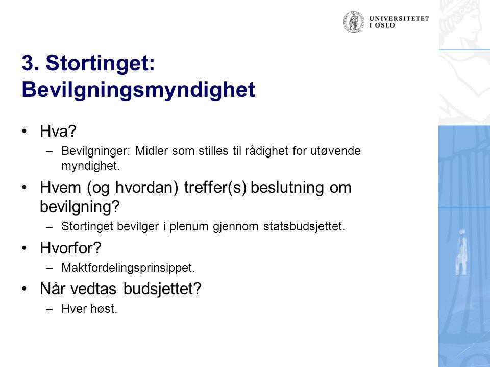 3. Stortinget: Bevilgningsmyndighet