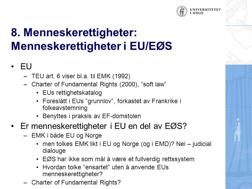 8. Menneskerettigheter: Menneskerettigheter i EU/EØS