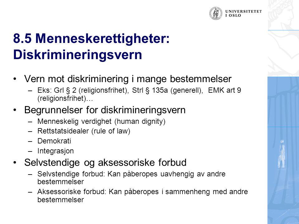 8.5 Menneskerettigheter: Diskrimineringsvern